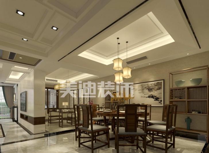 湘麓国际别墅新中式亚博体育app下载安装效果图-餐厅