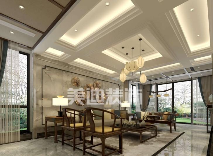 湘麓国际别墅新中式亚博体育app下载安装效果图-客厅
