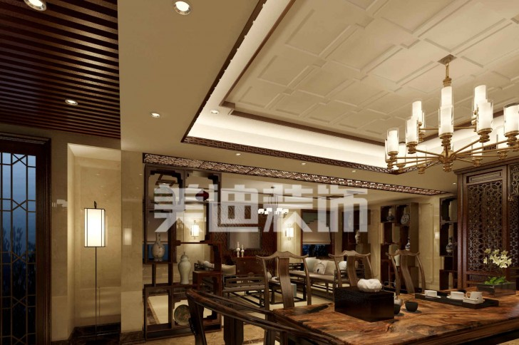 水映加州新中式亚博体育app下载安装效果图— 一楼休闲厅