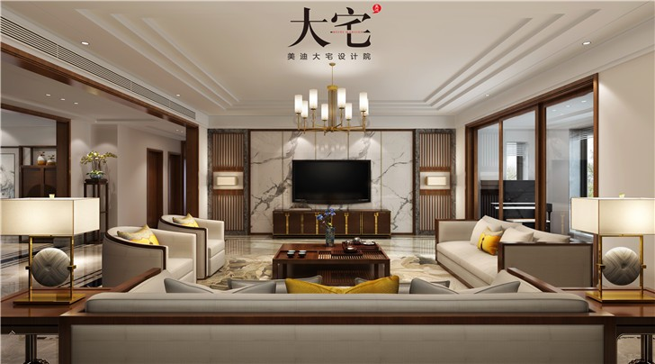 青竹湖曦园390平新中式亚博体育app下载安装亚博体育app官方下载苹果图—客厅