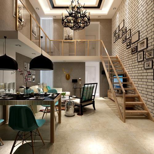 复式楼楼梯一般是连接楼层与楼层的通道,楼梯穿堂就是指楼梯设在客厅图片