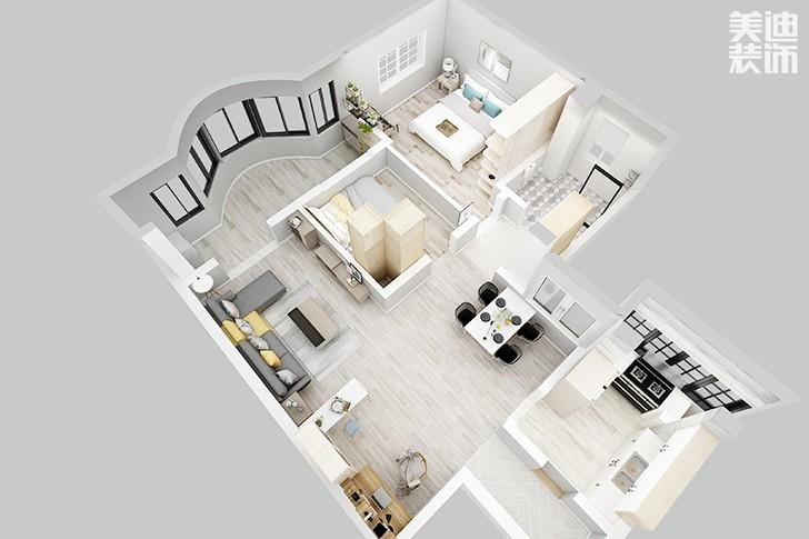 银园公寓89平米现代简约风格亚博体育app下载安装效果图--俯视图