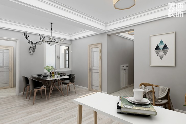 银园公寓89平米现代简约风格亚博体育app下载安装效果图--餐厅