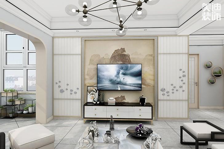 澳海澜庭145平米新中式风格亚博体育app下载安装效果图--电视7