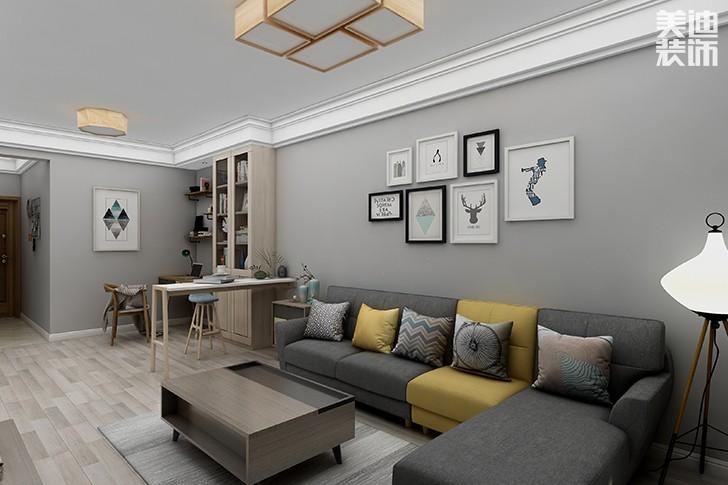 银园公寓89平米现代简约风格装修效果图--客厅2
