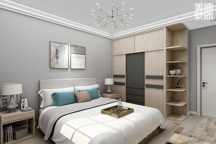 银园公寓89平米现代简约风格亚博体育app下载安装效果图--主卧2
