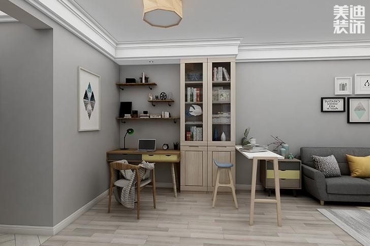 银园公寓89平米现代简约风格亚博体育app下载安装效果图--书吧