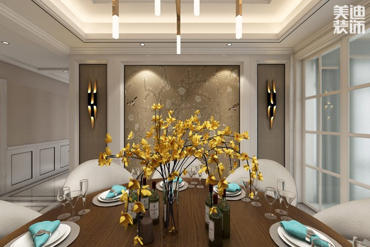 牡丹舸240欧式轻奢风格亚博体育app下载安装效果图-餐厅