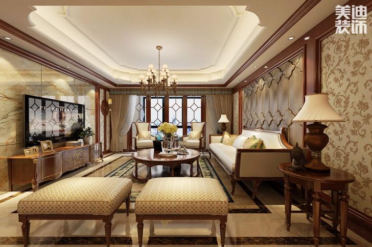 万镜水岸230平米传统美式风格亚博体育app下载安装效果图--客厅