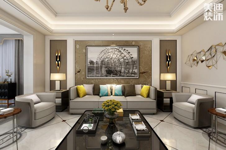 牡丹舸240欧式轻奢风格亚博体育app下载安装效果图--客厅
