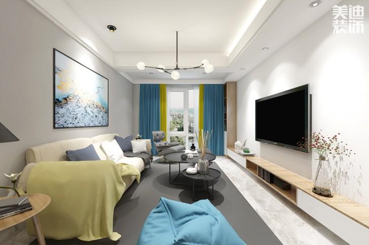 新城国际花都93平米北欧风格亚博体育app下载安装效果图--客厅
