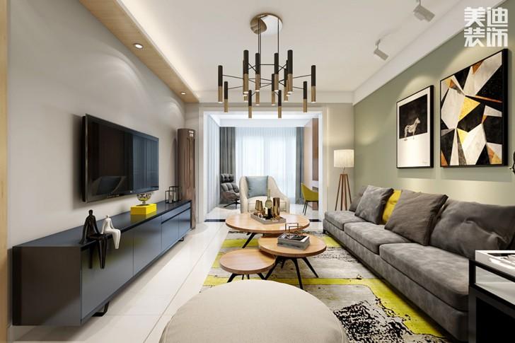 时代倾城87平米现代风格亚博体育app下载安装效果图--客厅