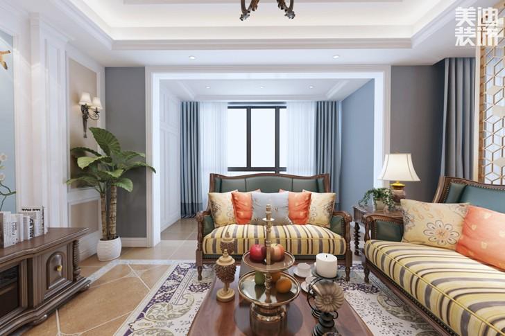 恒广国际景园127平米美式风格亚博体育app下载安装效果图--客厅