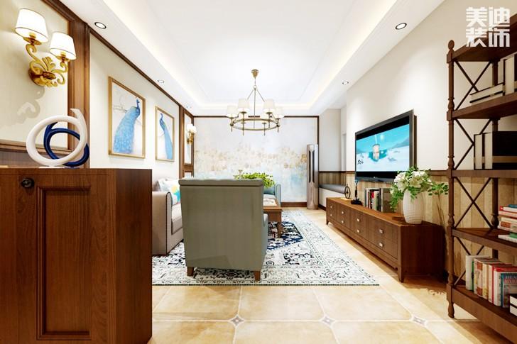 梅溪湖壹号98平米美式风格亚博体育app下载安装效果图--客厅