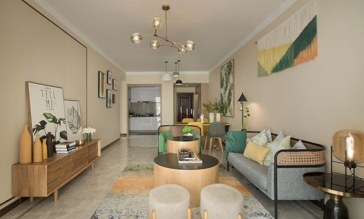 长沙西店样板房美式风格亚博体育app下载安装实景图--客厅
