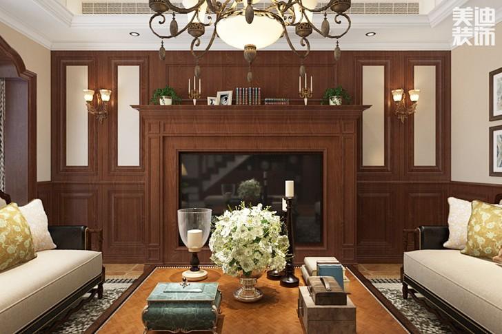 湘龙家园280平米美式风格亚博体育app下载安装效果图--客厅