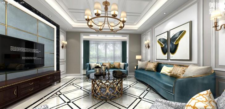 江山壹号200平米新古典风格亚博体育app下载安装效果图--客厅