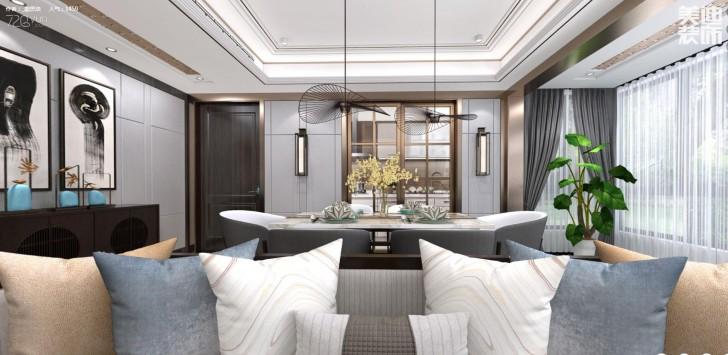 建发中央悦府140平米新中式风格亚博体育app下载安装效果图--餐厅