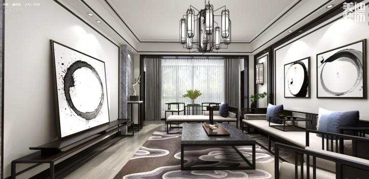 中航城140平米新中式风格亚博体育app下载安装效果图--客厅