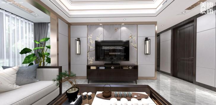 建发中央悦府140平米新中式风格亚博体育app下载安装效果图--客厅