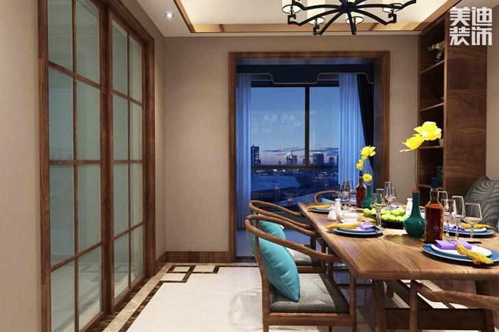 金鹰九龙山115平米新中式风格亚博体育app下载安装效果图--餐厅