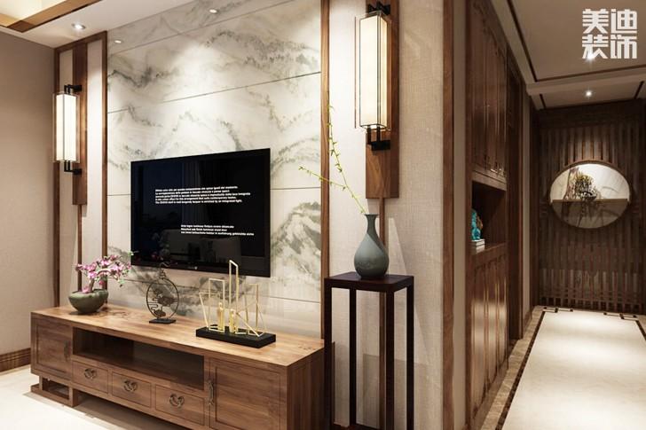 金鹰九龙山115平米新中式风格亚博体育app下载安装效果图--客厅