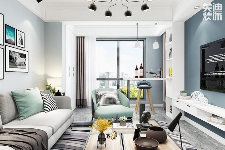 嘉宇银杉120平米北欧风格亚博体育app下载安装效果图--客厅