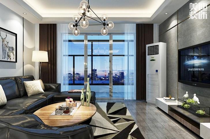 湘江世纪城140平米现代风格亚博体育app下载安装效果图--客厅