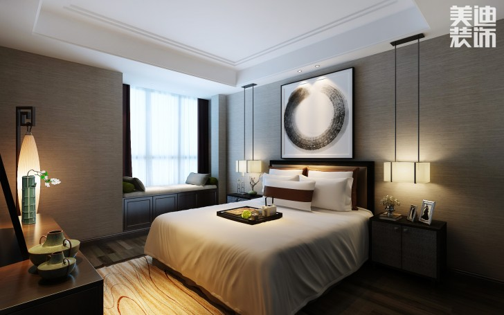 兰侨公馆320平米新中式风格亚博体育app下载安装亚博体育app官方下载苹果效果图--卧室