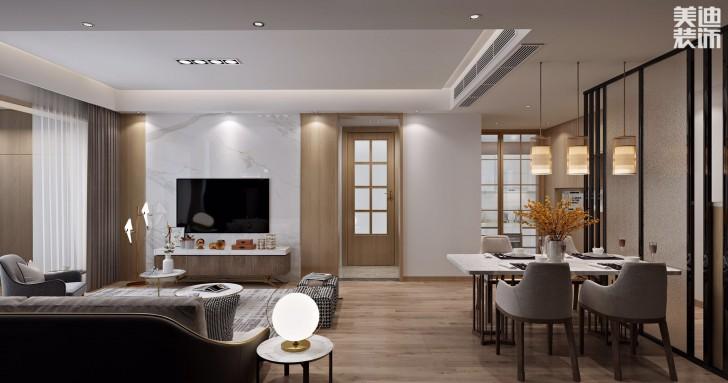 中建嘉和城108平米现代日式风格亚博体育app官方下载苹果效果图--客厅