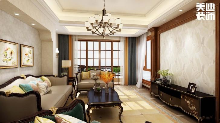 明昇壹城128平方米美式风格亚博体育app官方下载苹果效果图--客厅