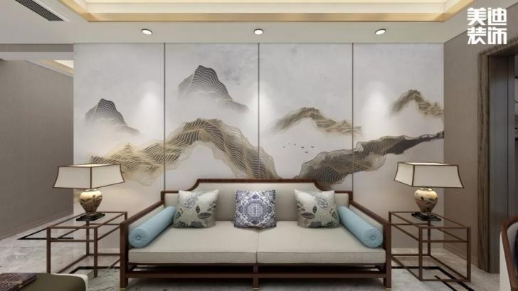 北大资源理想家园116平方米新中式亚博体育app官方下载苹果效果图--客厅