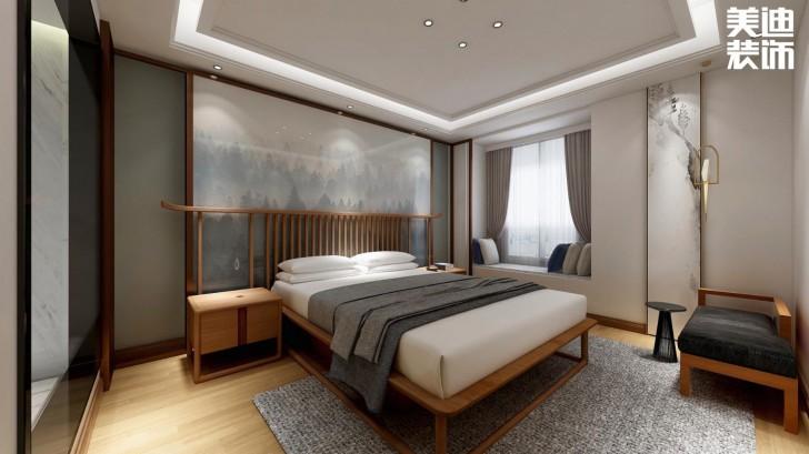 万达湖公馆100平米新中式风格亚博体育app官方下载苹果效果图--卧室