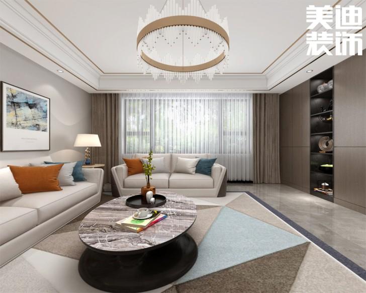 三湘小区120㎡现代轻奢风格亚博体育app官方下载苹果效果图--客厅