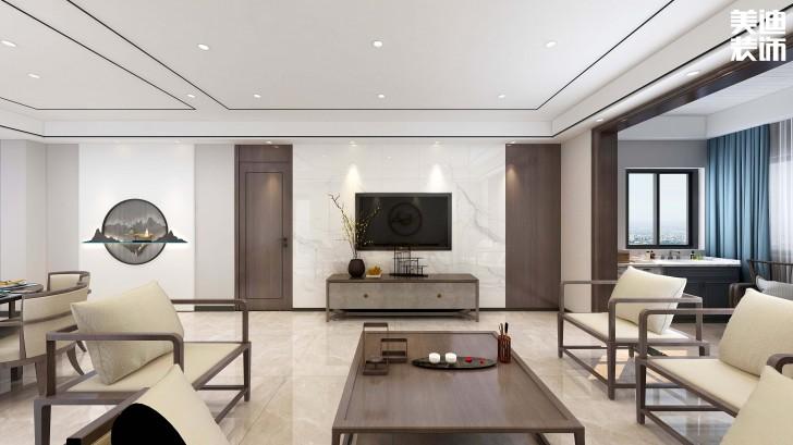 江山壹号140平方米新中式风格亚博体育app官方下载苹果效果图--客厅