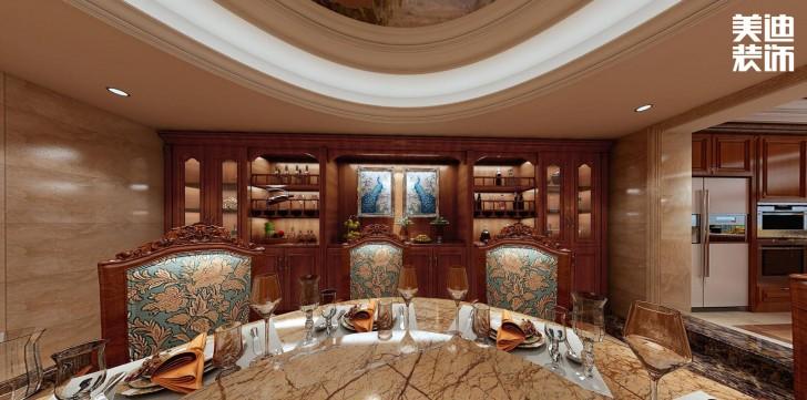 融冠非墅380平方米美式风格亚博体育app官方下载苹果效果图--餐厅