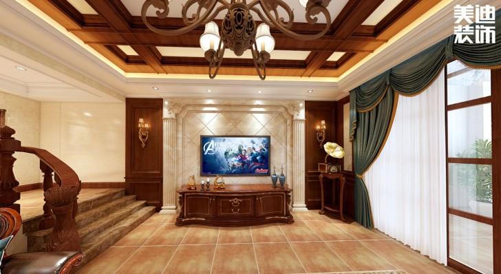 融冠非墅380平方米美式风格亚博体育app官方下载苹果效果图--客厅