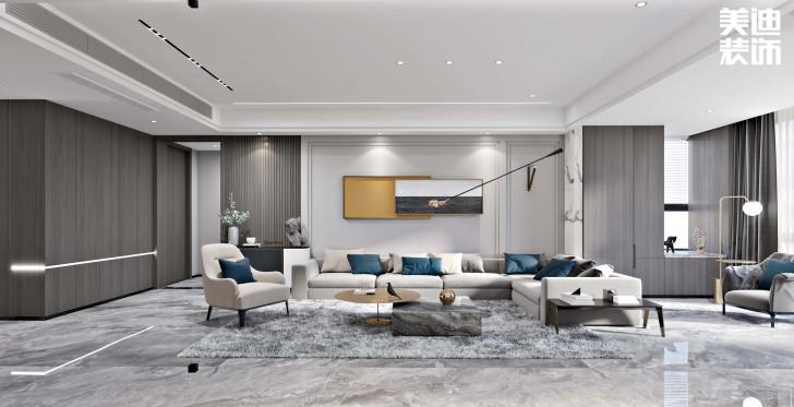 第六都180平方米现代简约风格亚博体育app下载安装效果图--客厅