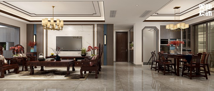 旭辉国际广场300平方米新中式风格亚博体育app官方下载苹果效果图--客厅