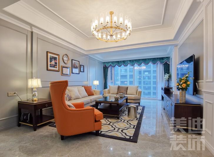 万象府台150㎡美式风格效果图图--客厅