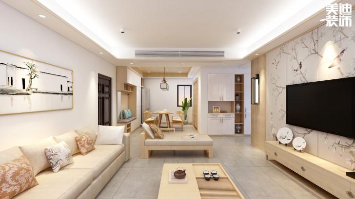 香海西岸125平方米日式风格亚博体育app官方下载苹果效果图--客厅