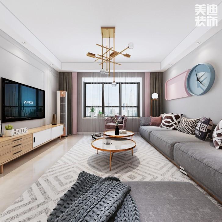 163家园165平方米北欧风格效果图--客厅
