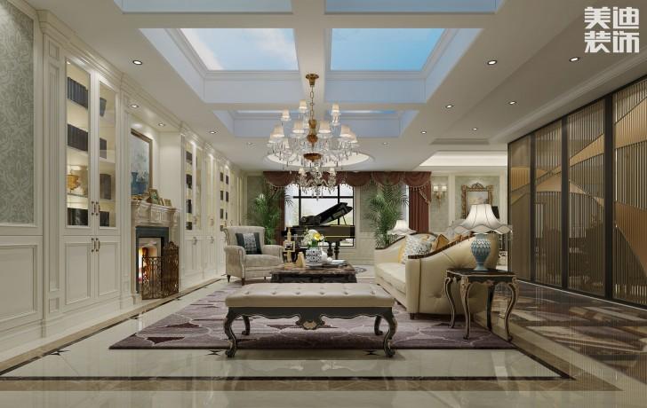 中海梅溪湖450平方米混搭风格效果图--客厅