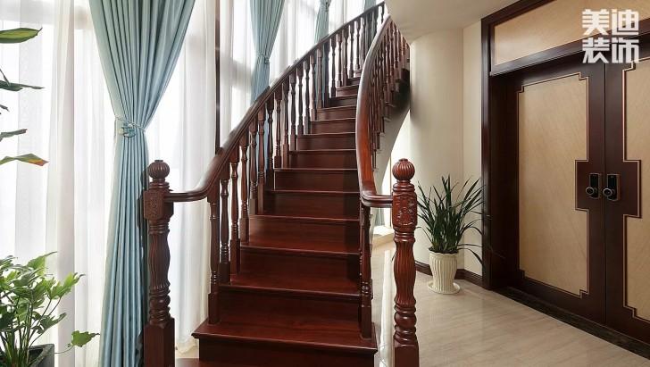 湘江豪庭300平方米新中式风格亚博体育app官方下载苹果实拍图--楼梯
