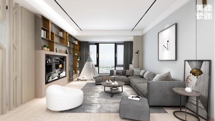 龙湖春江悦茗114平方米现代风格效果图--客厅