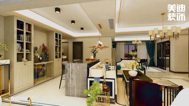 天健城178平方米新中式风格亚博体育app官方下载苹果效果图-客餐厅