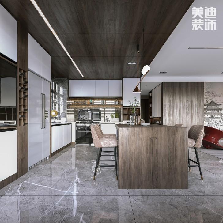 建发央著140㎡现代中式风格亚博体育app官方下载苹果效果图-厨房
