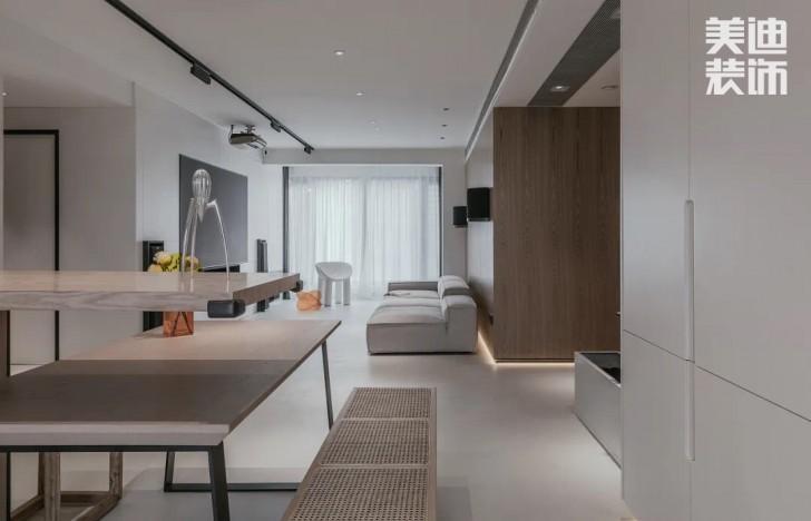 长房白沙湾168㎡现代极简风格亚博体育app官方下载苹果效果图-客餐厅