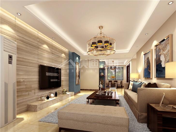 北辰中央公园轻奢港式风装修案例图—客厅