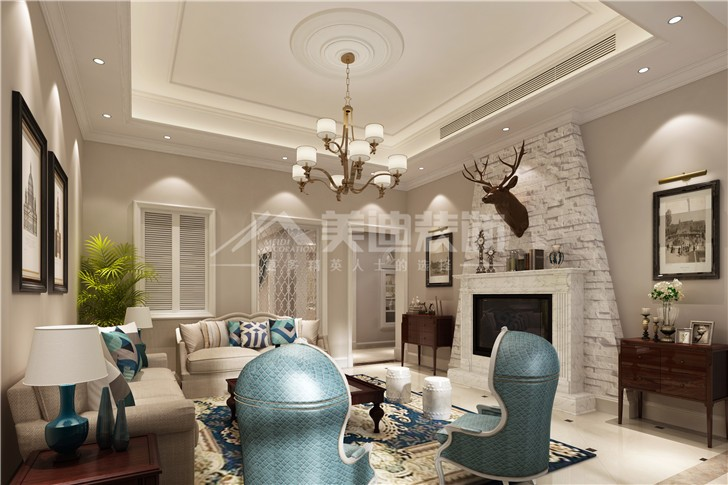 中粮北纬258平简美风装修案例图—客厅